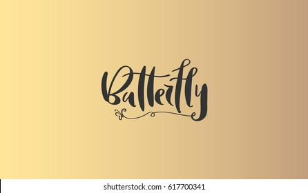 Luxury brand identity. Calligraphy 'Butterfly' inscription - sophisticated logo design. Couple business card designs included.