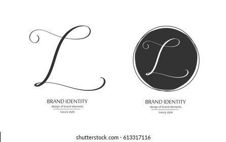 Luxury brand identity. Calligraphy L letter in a circle - sophisticated minimalistic logo design.