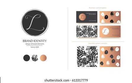 Luxury brand identity. Calligraphy L letter in a circle - sophisticated logo design. Couple business card designs and seamless pattern samples included.