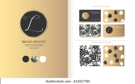 Luxury brand identity. Calligraphy L letter in a circle - sophisticated logo design. Couple business card designs included.