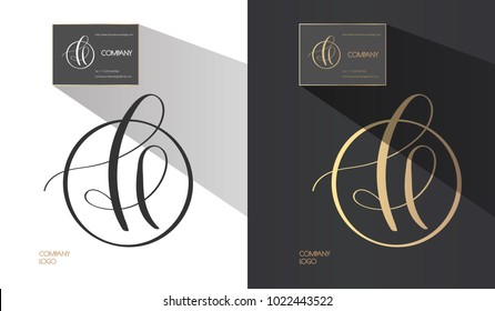 Luxury Brand Line Logo With Calligraphic Uppercase H Or Lowercase F L E Letter