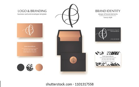 Luxury brand line logo with calligraphic lowercase f letter in a circle. Classic style branding templates. Business cards and used seamless patterns included