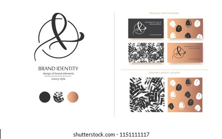 Luxury brand line logo with calligraphic uppercase A or lowercase f, l, e letter combination in a circle. Classic style branding templates. Business cards and used seamless patterns included