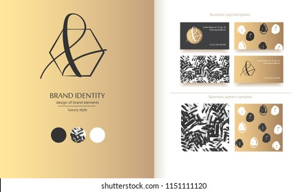 Luxury brand line logo with calligraphic uppercase A or lowercase f letter combination in a hexagon. Classic style branding templates. Business cards and used seamless patterns included