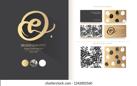 Luxury brand line logo with calligraphic uppercase o and L or lowercase e letter combination in a circle. Classic style branding templates. Business cards and used seamless patterns included
