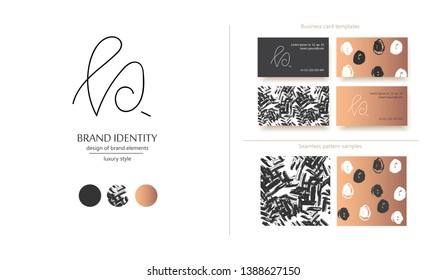 Luxury brand line logo with calligraphic uppercase P or R, or lowercase b, k letter combination. Classic style branding templates. Business cards and used seamless patterns included