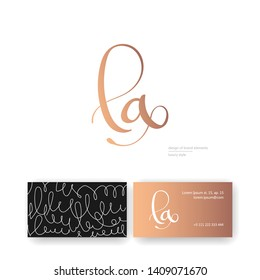 Luxury brand line logo with calligraphic lowercase l, a letter combination written with rose gold. Classic style branding templates. Business cards design included
