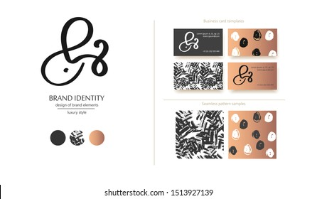 Luxury brand line logo with calligraphic lowercase b combined with ampersand. Classic style branding templates. Business cards design included