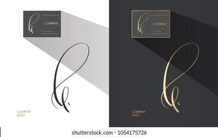 Luxury brand line logo with L, E, B letters combination. Classic style branding templates. Business cards and used seamless patterns included