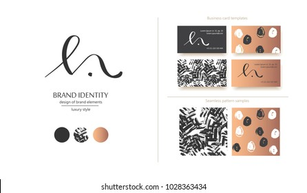 Luxury brand line logo with M, N, h or l letters combination. Classic style branding templates. Business cards and used seamless patterns included