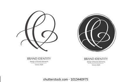 Luxury brand line logo with uppercase H or lowercase l, f letter combination. Classic style branding templates. Business cards and used seamless patterns included