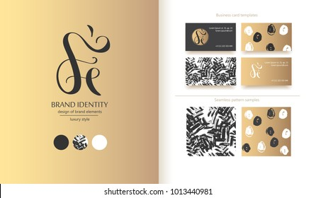 Luxury brand line logo with uppercase F and lowercase e letter combination. Classic style branding templates. Business cards and used seamless patterns included