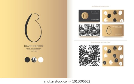 Luxury brand line logo with uppercase B calligraphic letter. Classic style branding templates. Business cards and used seamless patterns included