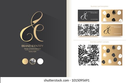 Luxury brand line logo with uppercase E and lowercase e letters cjmbination. Classic style branding templates. Business cards and used seamless patterns included
