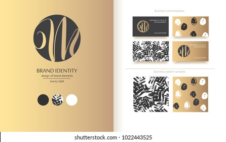 Luxury brand line logo with uppercase M  letter in a circle. Classic style branding templates. Business cards and seamless patterns included
