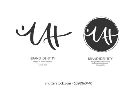 Luxury brand line logo with uppercase M, U, A and H or lowercase t letters combination. Classic style branding templates. Business cards and used seamless patterns included