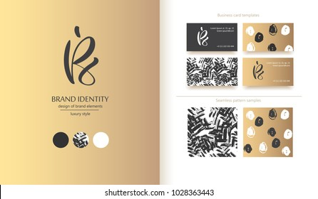 Luxury brand line logo with uppercase B, E and S letters combination. Classic style branding templates. Business cards and used seamless patterns included