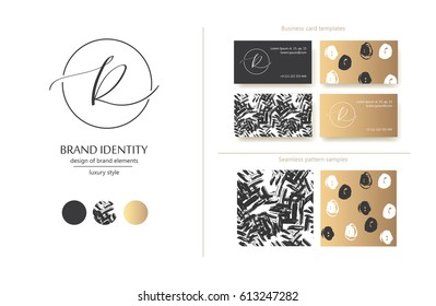Luxury brand line logo with uppercase R letter in a circle. Classic style branding templates. Business cards and used seamless patterns included.