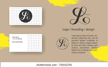 Luxury brand line logo with uppercase L letter in a circle. Classic style branding templates. Business cards included.