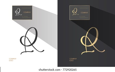 Luxury brand line logo with uppercase R and A, f, P letters combination. Classic style branding templates. Business cards and used seamless patterns included.