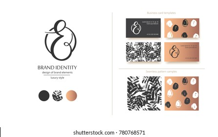Luxury brand line logo with uppercase E or  lowercase r letter in a circle. Classic style branding templates. Business cards and used seamless patterns included