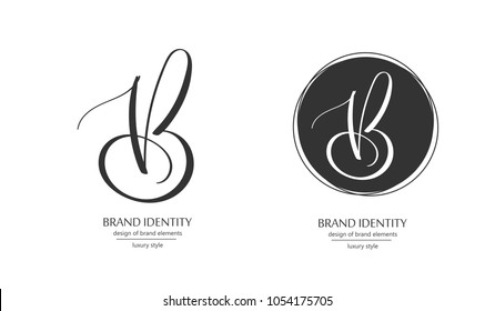 Luxury brand line logo with V and B letters combination. Classic style branding templates. Business cards and used seamless patterns included