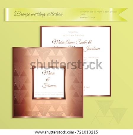 luxury bronze shiny wedding invitation template stock vector