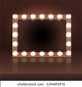 Luxury brown makeup blank mirror realistic with bulb light effect in wall background. vector illustration