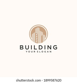 Luxury building logo with circle and gold color
