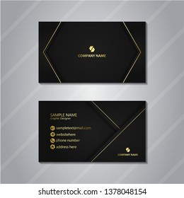 luxury business card with dynamic shapes composition, glowing gold line. simple and elegant design concept.
