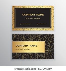Luxury business card. Gold and black horizontal business card template design for personal or business use with front and back side. Vector illustration.
