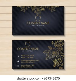 Luxury business card with golden floral
