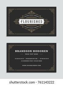 Luxury business card and vintage ornament style logo vector template. Retro elegant flourishes ornamental frames design.