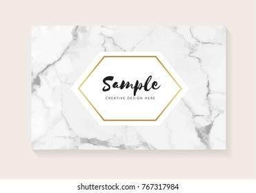 Luxury business cards with marble texture and gold vector illustration.