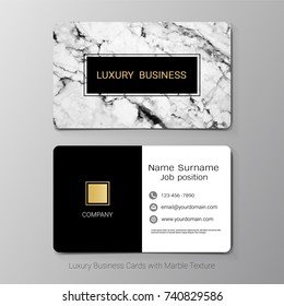 Luxury business cards template, Abstract white gray background, Marbling or texture imitation with golden foil details, Simple style also modern and elegant, Easy to customize it to fit your needs.