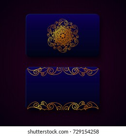 Luxury business cards templates in deep blue color with golden decorations on dark background. VIP gift card designs. Greetings card layout. Vector EPS10 file.