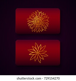 Luxury business cards templates in red color with golden decorations on dark background. VIP gift card designs. Greetings card layout. Vector EPS10 file.