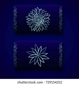 Luxury business cards templates in royal blue color with silver decorations on dark background. VIP gift card designs. Greetings card layout. Vector EPS10 file.