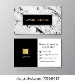 Luxury business cards vector template, Banner and cover with marble texture and golden foil details on white background, Simple style also modern and elegant, Easy to customize it to fit your needs.