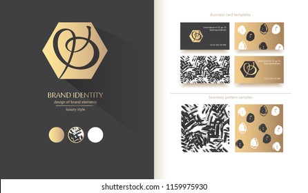 Luxury calligraphic letter B and O abstract combination, monogram as vector logo template. Sophisticated brand identity design. Vector illustration including various business card templates.