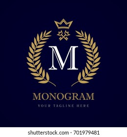 Luxury calligraphic letter M crown and key monogram logo. Laurel elegant beautiful round logo with crown and key. Vector letter emblem M for Royalty, Restaurant, Boutique, Hotel, Heraldic, Jewelry