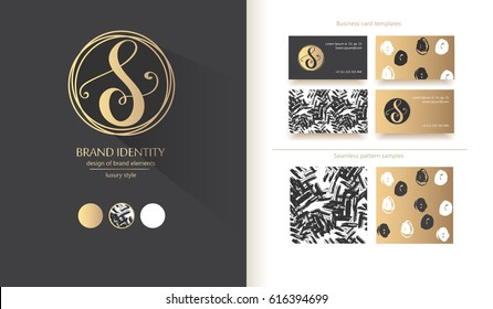 Luxury calligraphic letter S monogram - vector logo template. Sophisticated brand identity design. Vector illustration including various business card templates.