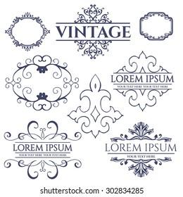 Luxury calligraphic vintage frame with beautiful pattern. Elegant logo design Vector illustration