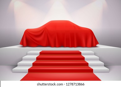 Luxury car covered with red silk draped cloth presentation on podium with staircase carpet realistic vector illustration