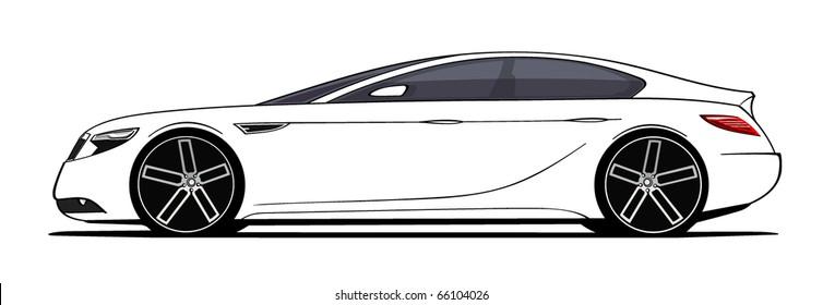 Luxury White Sedan Car Sketch Side Stock Vector Royalty Free