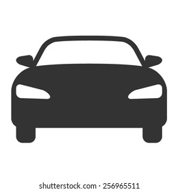 Luxury car / vehicle sedan or performance car front view flat vector icon for apps and websites
