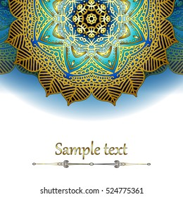 Luxury Card or invitation with oriental pattern in Indian, Arabic, Islamic, Turkish style, with  circular floral ornament.