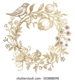 Luxury card for invitations, greetings. Hand drawing chrysanthemum, branches, leaves, flowers, birds, pomegranate fruits on white background. Embroidery golden threads. Vintage vector illustration.