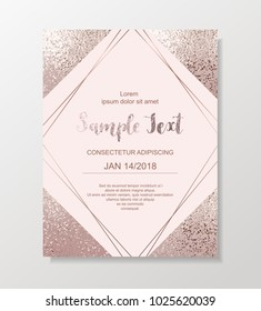 Luxury card template with rhombus, framed rose gold glitter triangles on pink background.