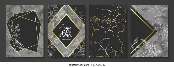 Luxury cards collection with marble texture ,hand-drawn flowers and gold geometric shape.Vector trendy background. Modern set of abstract card, template,posters,invitational.